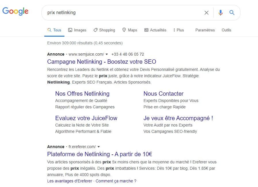 """La recherche """"achat backlinks"""" ou """"prix netlinking"""" fait sortir plusieurs annonces Google Ads pour l'achat et la vente de liens..."""