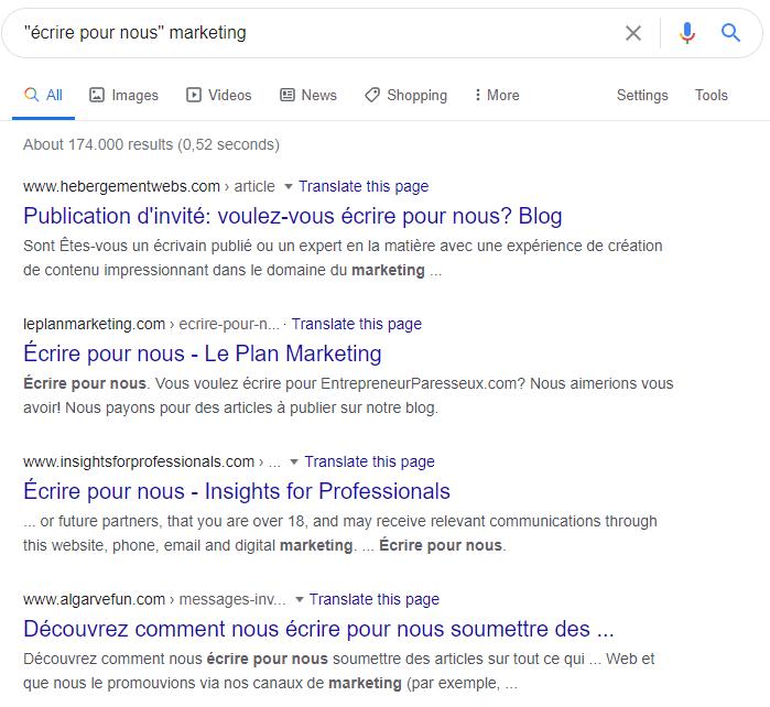 Rechercher sur Google les sites qui acceptent les articles invités