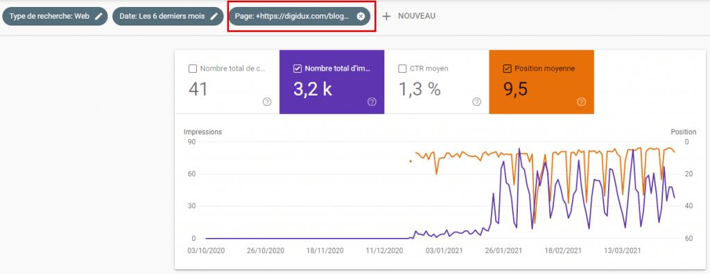 Le rapport performances de Google Search Console